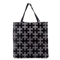 Puzzle1 Black Marble & Gray Leather Grocery Tote Bag