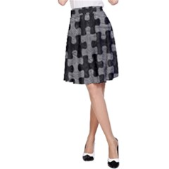 Puzzle1 Black Marble & Gray Leather A Line Skirt