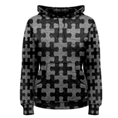 Puzzle1 Black Marble & Gray Leather Women s Pullover Hoodie