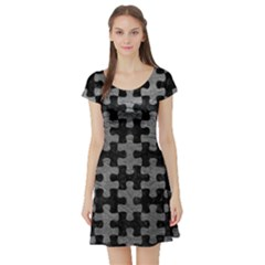 Puzzle1 Black Marble & Gray Leather Short Sleeve Skater Dress