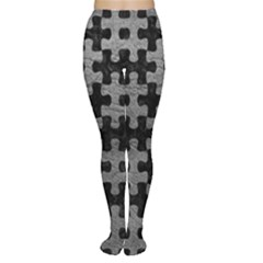 Puzzle1 Black Marble & Gray Leather Women s Tights