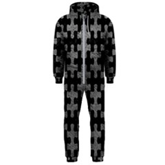 Puzzle1 Black Marble & Gray Leather Hooded Jumpsuit (men)