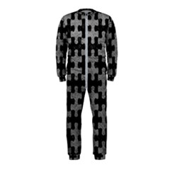 Puzzle1 Black Marble & Gray Leather Onepiece Jumpsuit (kids)
