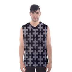 Puzzle1 Black Marble & Gray Leather Men s Basketball Tank Top