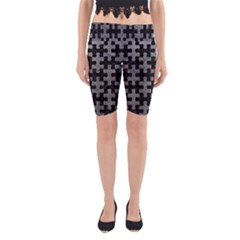 Puzzle1 Black Marble & Gray Leather Yoga Cropped Leggings