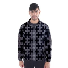 Puzzle1 Black Marble & Gray Leather Wind Breaker (men)