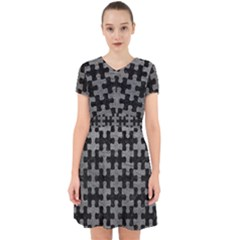 Puzzle1 Black Marble & Gray Leather Adorable In Chiffon Dress