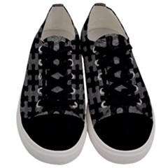 Puzzle1 Black Marble & Gray Leather Men s Low Top Canvas Sneakers