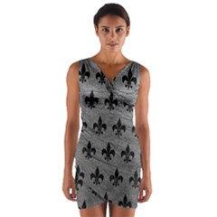 Royal1 Black Marble & Gray Leather Wrap Front Bodycon Dress