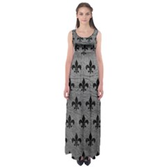 Royal1 Black Marble & Gray Leather Empire Waist Maxi Dress