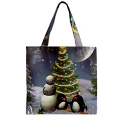 Funny Snowman With Penguin And Christmas Tree Grocery Tote Bag