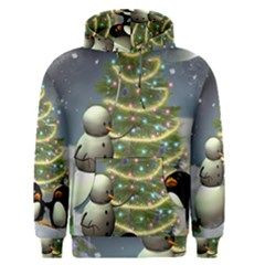 Funny Snowman With Penguin And Christmas Tree Men s Pullover Hoodie