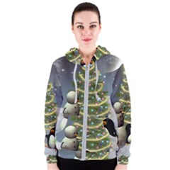 Funny Snowman With Penguin And Christmas Tree Women s Zipper Hoodie
