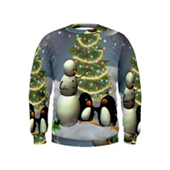 Funny Snowman With Penguin And Christmas Tree Kids  Sweatshirt