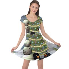 Funny Snowman With Penguin And Christmas Tree Cap Sleeve Dress