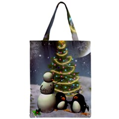Funny Snowman With Penguin And Christmas Tree Zipper Classic Tote Bag