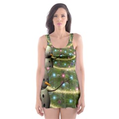 Funny Snowman With Penguin And Christmas Tree Skater Dress Swimsuit