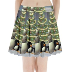 Funny Snowman With Penguin And Christmas Tree Pleated Mini Skirt