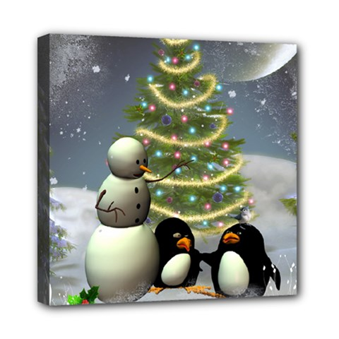 Funny Snowman With Penguin And Christmas Tree Mini Canvas 8  X 8