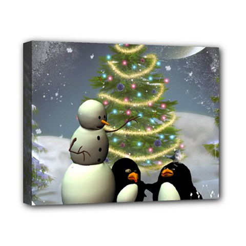 Funny Snowman With Penguin And Christmas Tree Canvas 10  X 8