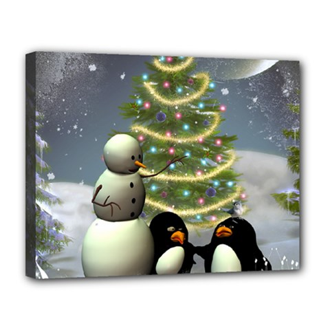 Funny Snowman With Penguin And Christmas Tree Canvas 14  X 11
