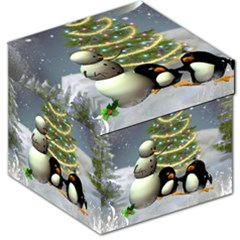 Funny Snowman With Penguin And Christmas Tree Storage Stool 12