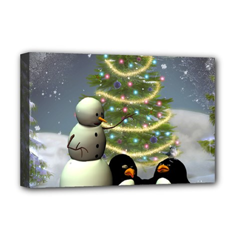 Funny Snowman With Penguin And Christmas Tree Deluxe Canvas 18  X 12