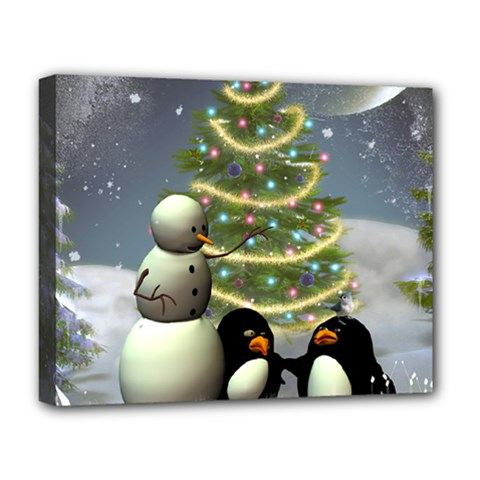 Funny Snowman With Penguin And Christmas Tree Deluxe Canvas 20  X 16