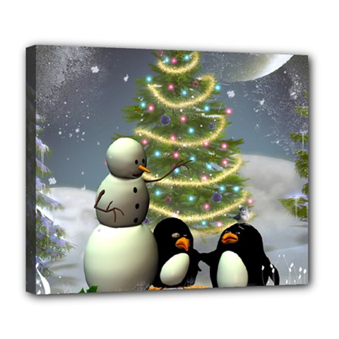 Funny Snowman With Penguin And Christmas Tree Deluxe Canvas 24  X 20