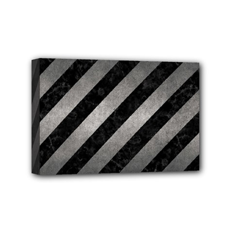 Stripes3 Black Marble & Gray Metal 1 Mini Canvas 6  X 4