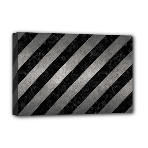 Stripes3 Black Marble & Gray Metal 1 Deluxe Canvas 18  X 12