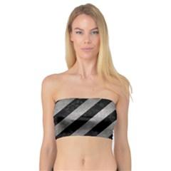 Stripes3 Black Marble & Gray Metal 1 Bandeau Top