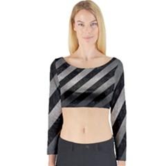 Stripes3 Black Marble & Gray Metal 1 Long Sleeve Crop Top