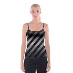 Stripes3 Black Marble & Gray Metal 1 Spaghetti Strap Top