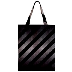 Stripes3 Black Marble & Gray Metal 1 Zipper Classic Tote Bag