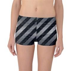 Stripes3 Black Marble & Gray Metal 1 Reversible Boyleg Bikini Bottoms