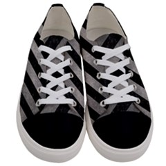 Stripes3 Black Marble & Gray Metal 1 Women s Low Top Canvas Sneakers