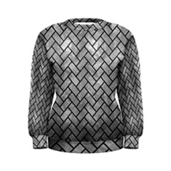 Brick2 Black Marble & Gray Metal 2 (r) Women s Sweatshirt