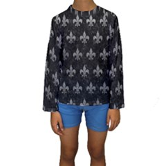 Royal1 Black Marble & Gray Leather (r) Kids  Long Sleeve Swimwear