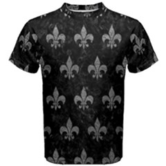 Royal1 Black Marble & Gray Leather (r) Men s Cotton Tee