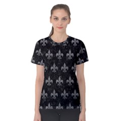 Royal1 Black Marble & Gray Leather (r) Women s Cotton Tee