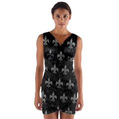 Royal1 Black Marble & Gray Leather (r) Wrap Front Bodycon Dress