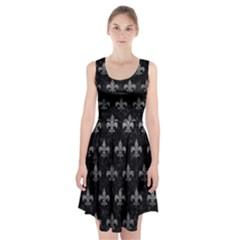Royal1 Black Marble & Gray Leather (r) Racerback Midi Dress
