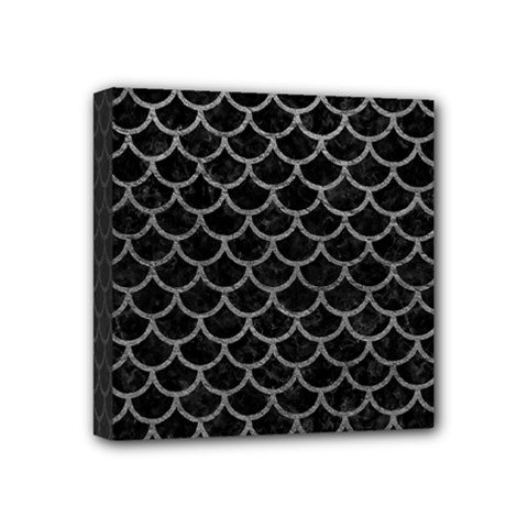 Scales1 Black Marble & Gray Leather Mini Canvas 4  X 4
