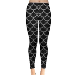 Scales1 Black Marble & Gray Leather Leggings