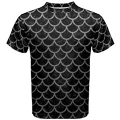 Scales1 Black Marble & Gray Leather Men s Cotton Tee