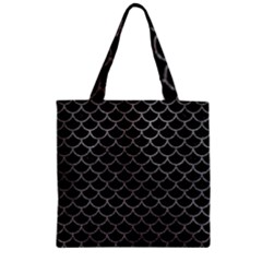 Scales1 Black Marble & Gray Leather Zipper Grocery Tote Bag