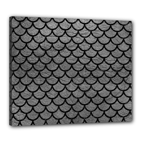 Scales1 Black Marble & Gray Leather (r) Canvas 24  X 20
