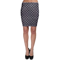 Scales1 Black Marble & Gray Leather (r) Bodycon Skirt