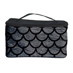 Scales1 Black Marble & Gray Leather (r) Cosmetic Storage Case